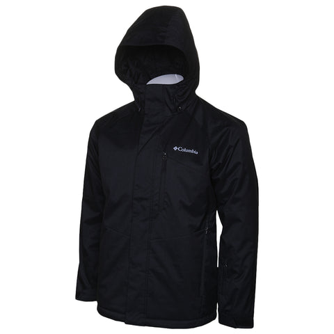 COLUMBIA MEN'S CHUTERUNNER II JACKET BLACK HEATHER HOOD UP