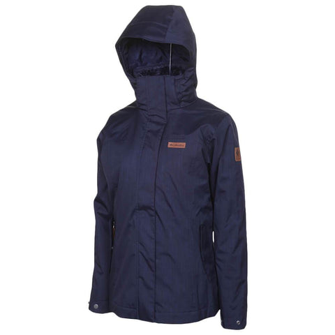 COLUMBIA WOMEN'S MARSHALL PASS INTERCHANGE 3 IN 1 JACKET DARK NOCTURNAL ANGLE WITH HOOD UP