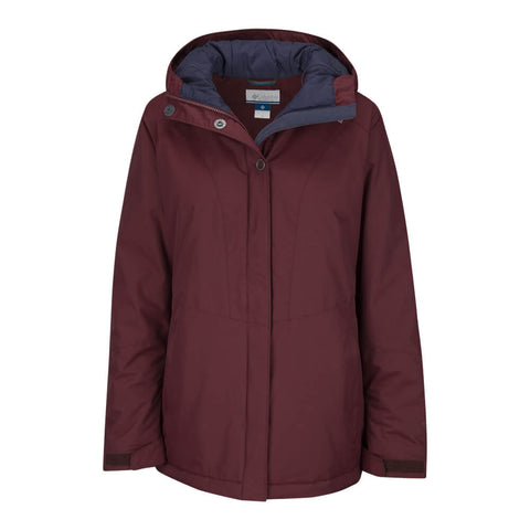 COLUMBIA WOMEN'S ICEBERG LAKE JACKET BLACK CHERRY HOOD DOWN