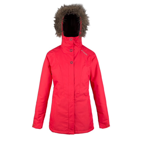 COLUMBIA WOMEN'S ICEBERG LAKE JACKET RED LILY FRONT HOOD UP