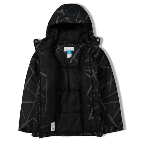 COLUMBIA BOYS LIGHTNING LIFT JACKET BLACK SPIDER STREETS PRINT