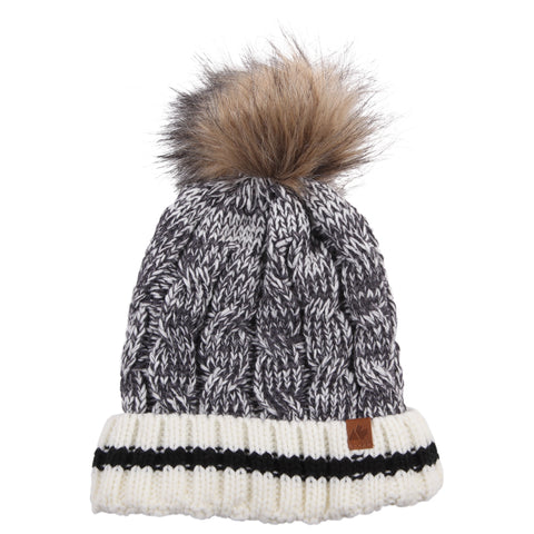 GREAT NORTHERN W SHERPA LINED CABLE TOQUE GRY/BLK