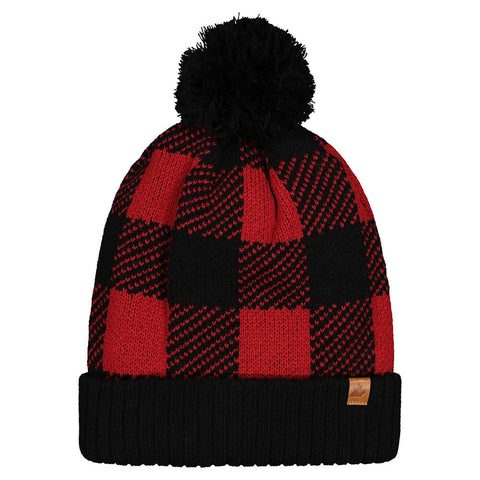 GREAT NORTHERN ADULT SHERPA LINED TOQUE BUFFALO PLAID RED/BLK