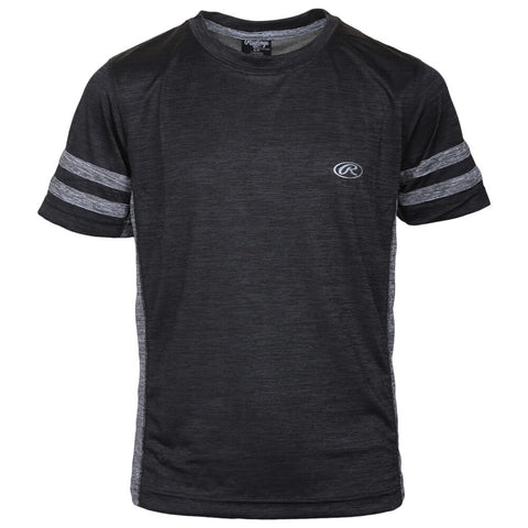 RAWLINGS BOYS' JERSEY ATHLETIC TEE CHARCOAL