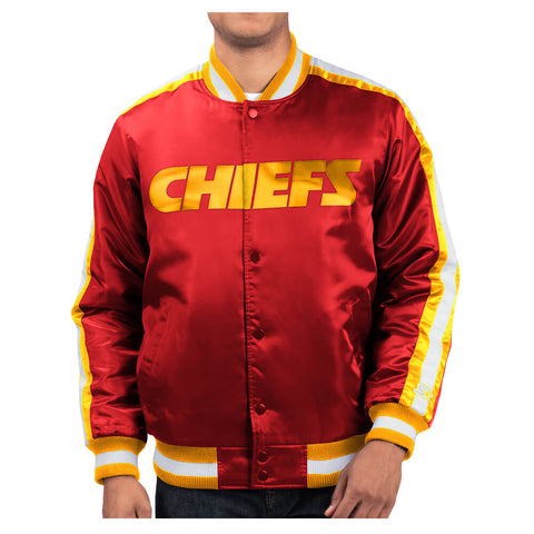 STARTER MEN'S KANSAS CITY CHIEFS O-LINE VARSITY SATIN JACKET