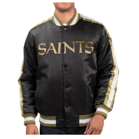 STARTER MEN'S NEW ORLEANS SAINTS O-LINE VARSITY SATIN JACKET