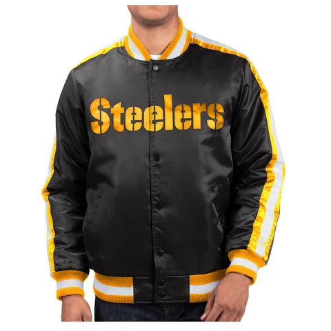 STARTER MEN'S PITTSBURGH STEELERS O-LINE VARSITY SATIN JACKET