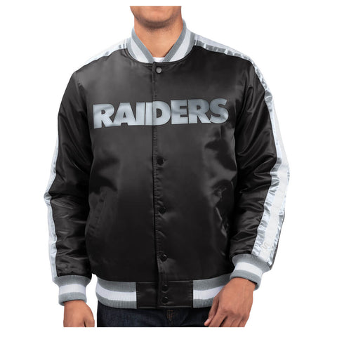 STARTER MEN'S OAKLAND RAIDERS O-LINE VARSITY SATIN JACKET