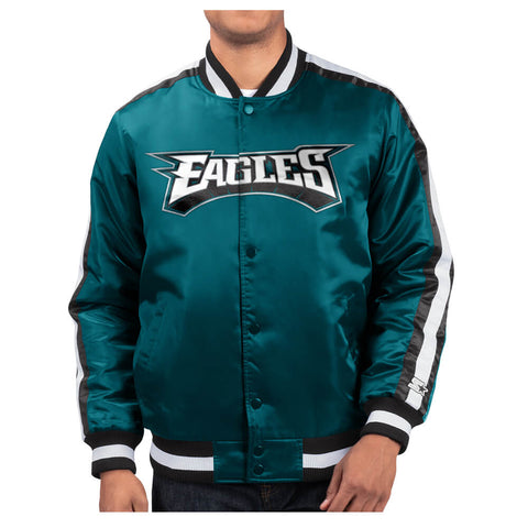 STARTER MEN'S PHILADELPHIA EAGLES O-LINE VARSITY SATIN JACKET