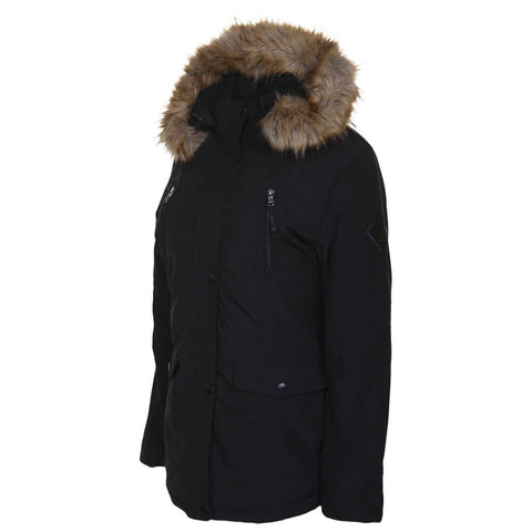 MISTY MOUNTAIN WOMEN'S CORONA INSULATED JACKET BLACK HOOD DOWN