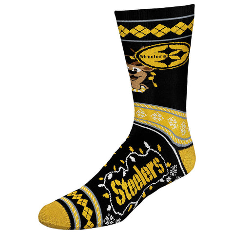 FBF ORIGINALS MEN'S PITTSBURGH STEELERS NFL XMAS SWEATER STRIPE SOCK