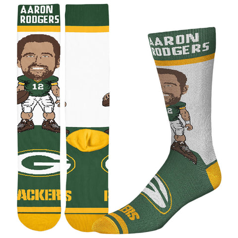 FBF ORIGINALS MEN'S GREEN BAY PACKERS NFL # PLAYER SOCKS RODGERS
