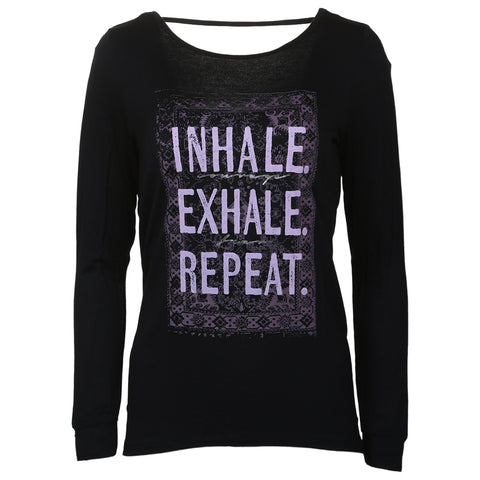 GAIAM WOMEN'S HAILEY LONG SLEEVE INHALE/EXHALE BLACK
