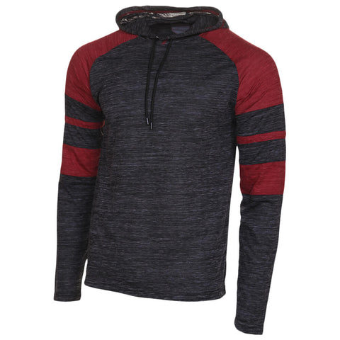 BURNSIDE MEN'S HOODED LONG SLEEVE TOP BLACK/RUBY