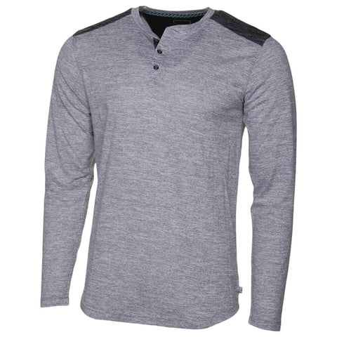 BURNSIDE MEN'S LONG SLEEVE TOP WARM GREY/DARK GREY
