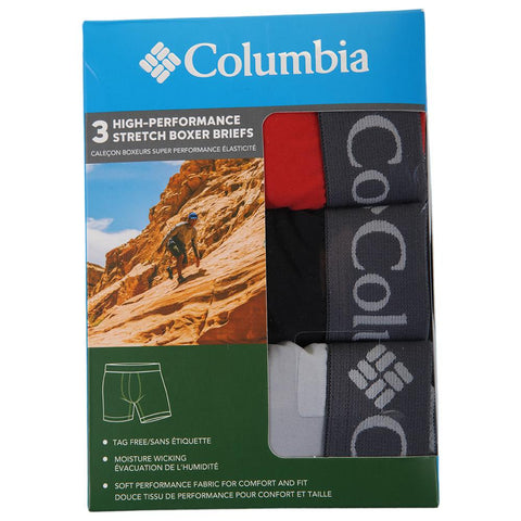 COLUMBIA MEN'S 3 PACK BOXER BRIEF SOLID SUPERSONIC/BLACK/COOL GREY