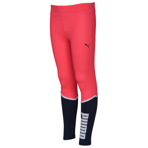 PUMA GIRL'S POLY COLOR BLOCKED LEGGINGS BRIGHT PLASMA