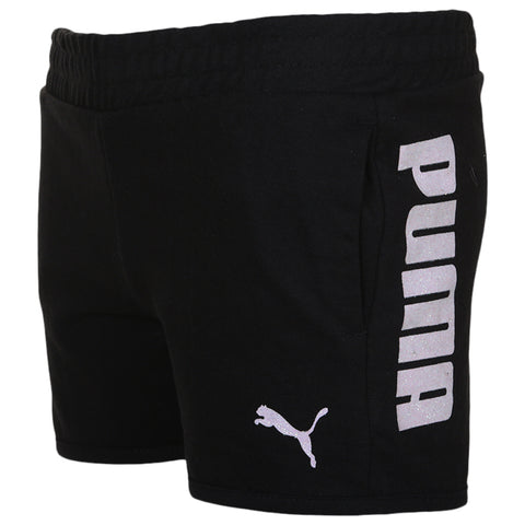 PUMA GIRL'S FRENCH TERRY PUMA SHORTS PUMA BLACK