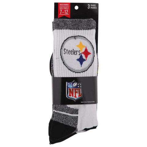 GERTEX MEN'S PITTSBURGH STEELERS NFL 3PK SPORT CREW SOCKS