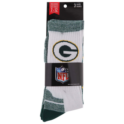 GERTEX MEN'S GREEN BAY PACKERS NFL 3 PACK SPORT CREW SOCKS