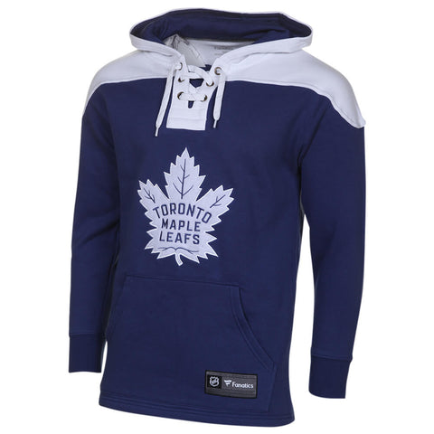 FANATICS MEN'S TORONTO MAPLE LEAFS LACE UP HOODY BLUE