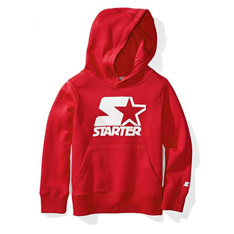 STARTER BOY'S PULLOVER HOODY COLOUR BLOCK LOGO TEAM RED