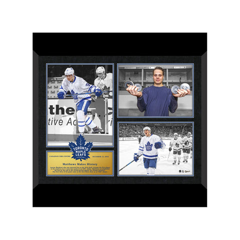 FRAMEWORTH TORONTO MAPLE LEAFS TRIPLE PHOTO FRAMED COLLAGE FIRST GAME PLAQUE MATTHEWS