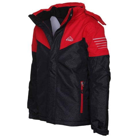 MCKINLEY BOYS TOM V2. JACKET BLACK HOOD DOWN ON AN ANGLE