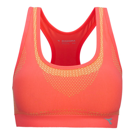 DIADORA WOMEN'S SEAMLESS TWO TONE SPORT BRA BRIGHT CORAL