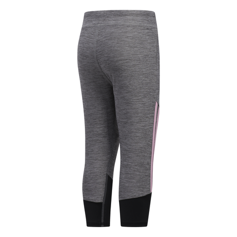 ADIDAS GIRL'S STRIPE CAPRI TIGHT GREY