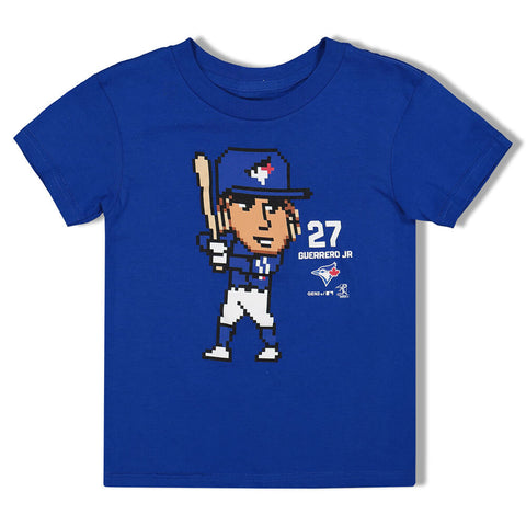 OUTERSTUFF 4-7 TORONTO BLUE JAYS GUERRERO JR PIXEL PLAYER SHORT SLEEVE TOP BLUE