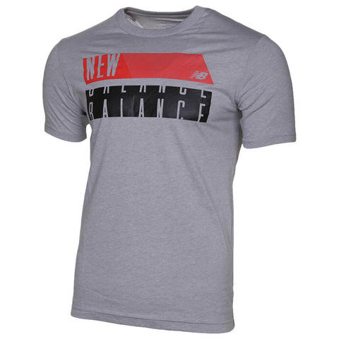 NEW BALANCE MEN'S CORE BLOCK SHORT SLEEVE TOP GREY
