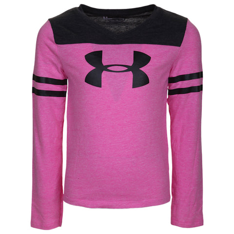 UNDER ARMOUR GIRL'S 4-6X TRIBLEND HI-LO LONG SLEEVE CHAOS HEATHER BLACK