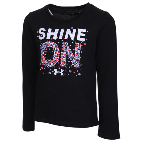 UNDER ARMOUR GIRL'S 4-6X SHINE ON LONG SLEEVE BLACK GLITTER