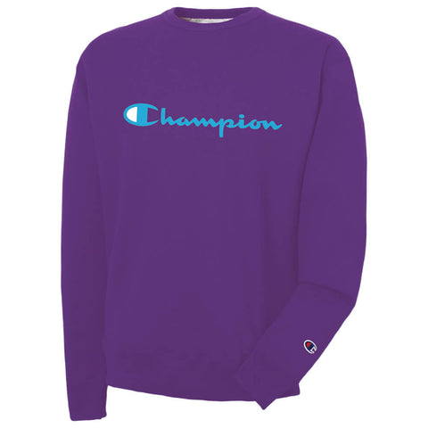 CHAMPION MEN'S POWERBLEND GRAPHIC CREW PURPLE CRUSH IVC