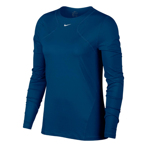 NIKE WOMEN'S PRO ALL OVER MESH LONG SLEEVE VALERIAN BLUE