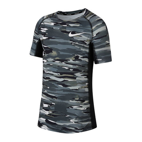 NIKE BOY'S PRO SHORT SLEEVE FITTED AOP TOP BLACK