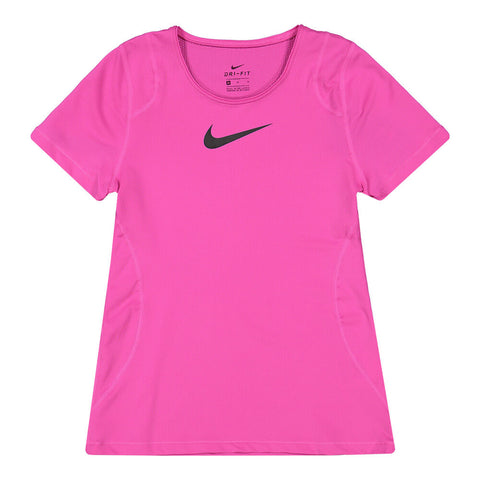 NIKE GIRL'S PRO SHORT SLEEVE TOP FIRE PINK