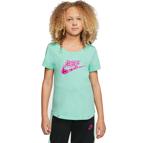 NIKE GIRL'S NSW TEE SCOOP GLITTER FUTURA EMERALD RISE