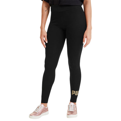 PUMA WOMEN'S ESSENTIAL LOGO LEGGINGS BLACK/ GOLD