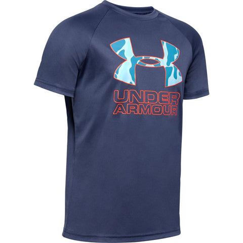 UNDER ARMOUR BOY'S TECH HYBRID PRINT FILL LOGO TEE BLUE INK