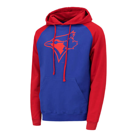 BULLETIN ATHLETIC MEN'S TORONTO BLUE JAYS RED LOGO RAGLAN HOODY ROYAL/RED