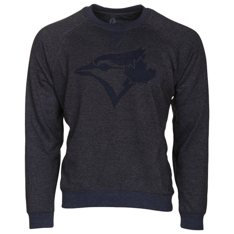 BULLETIN ATHLETIC MEN'S TORONTO BLUE JAYS NAVY LOGO RAGLAN CREW TOP HEATHER CHARCOAL/NAVY