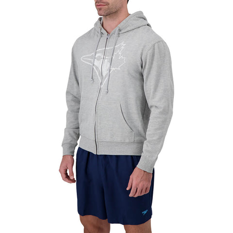 BULLETIN ATHLETIC MEN'S TORONTO BLUE JAYS WHITE LOGO FULL ZIP HOODY HEATHER ASH
