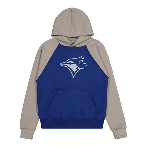 BULLETIN ATHLETIC YOUTH TORONTO BLUE JAYS GREY LOGO RAGLAN HOODY ROYAL/GREY