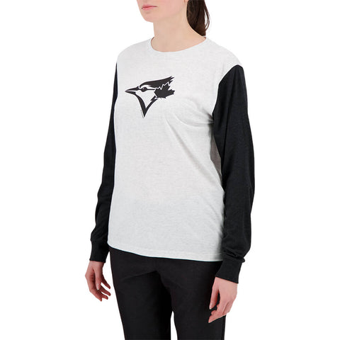 BULLETIN ATHLETIC YOUTH TORONTO BLUE JAYS BLACK LOGO TRIBLEND LONG SLEEVE TOP WHITE/BLACK