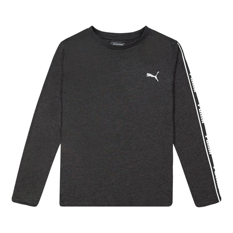 PUMA BOY'S NO.1 LOGO PACK LONG SLEEVE TEE BLACK HEATHER