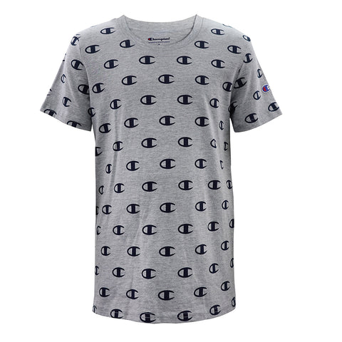 CHAMPION BOY'S AOP LOGO GRAPHIC TEE OXFORD HEATHER