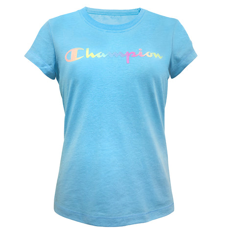 CHAMPION GIRL'S OMBRE LOGO TEE BLUE HORIZON