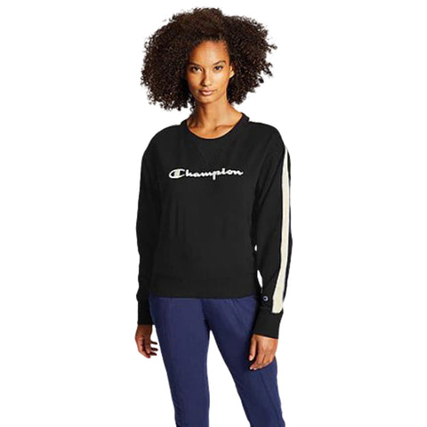 CHAMPION WOMEN'S HERITAGE CREW WITH TAPING BLACK